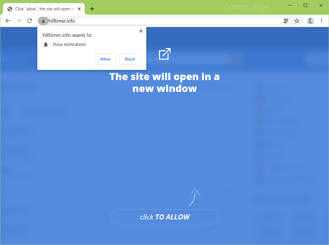 Delete hilltimer.info virus notifications