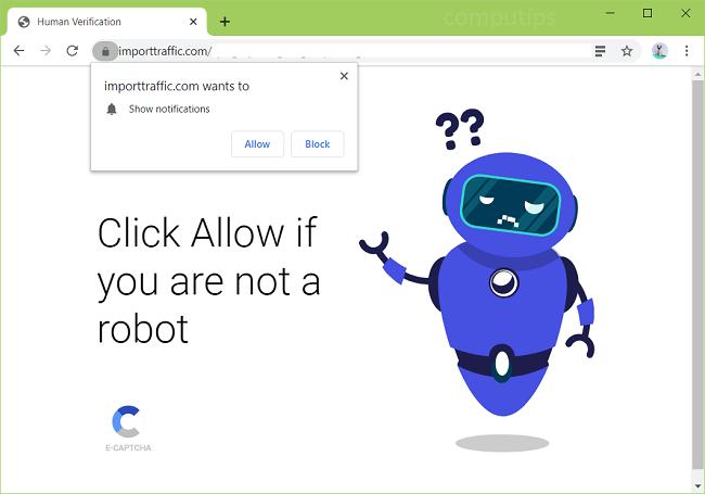 Delete importtraffic.com, 0.importtraffic.com, etc. virus notifications