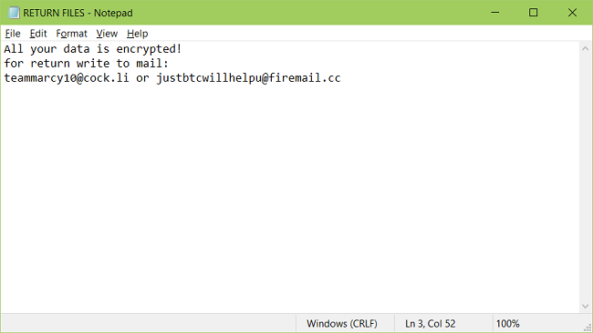 A screenshot of Kharma's ransom note RETURN FILES.txt