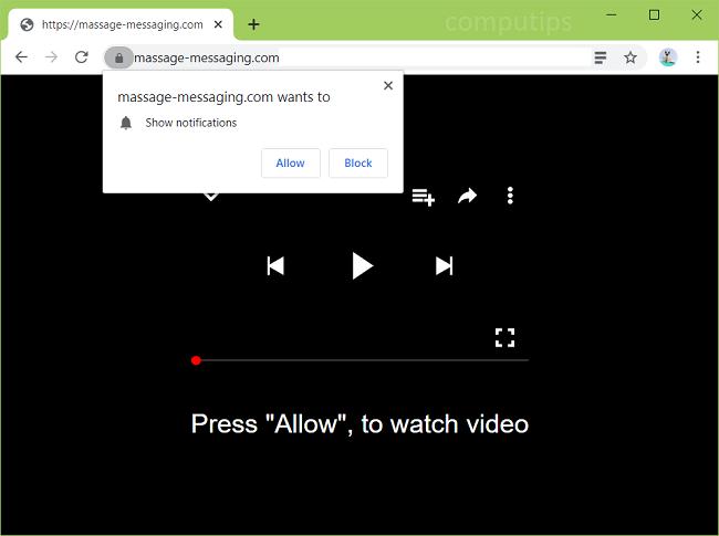 Delete massage-messaging.com virus notifications