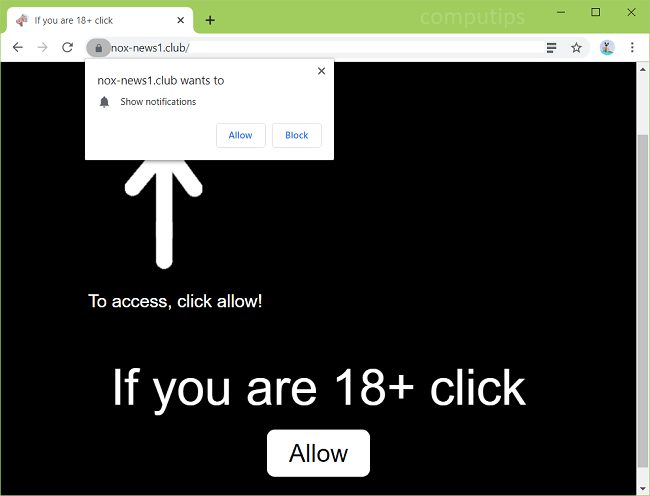 Delete nox-news1.club, 1.nox-news1.club virus notifications