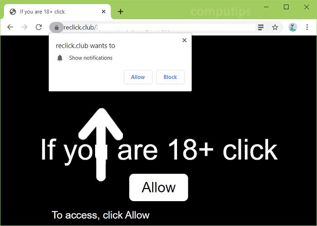 Delete reclick.club, 0.reclick.club, 1.reclick.club, etc. virus notifications