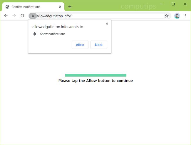 Supprimer allowedgutleton.info, lx56.allowedgutleton.info, wc7h.allowedgutleton.info, ewlv.allowedgutleton.info, etc. les notifications du virus