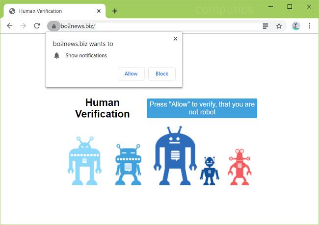 Supprimer bo2news.biz. les notifications du virus