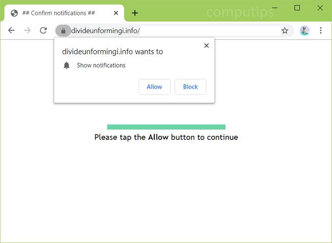 Delete divideunformingi.info, r7eb.divideunformingi.info, fn0n.divideunformingi.info, m8ag.divideunformingi.info, etc. virus notifications