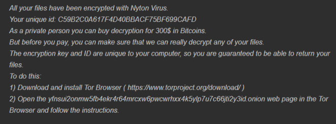 remover o Nyton ransomware