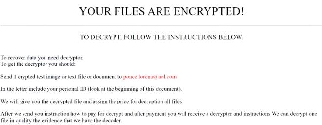 eliminar ponce.lorena.aol.com ransomware