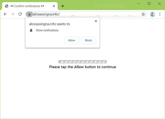 aliceassingna.info Excluir, y0y9.aliceassingna.info, yw3l.aliceassingna.info, vd2c.aliceassingna.info, etc. notificações de vírus