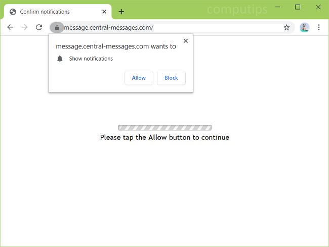 excluir central-messages.com, r7so.central-messages.com, r3qz.central-messages.com, uaia.central-messages.com, etc. notificações de vírus