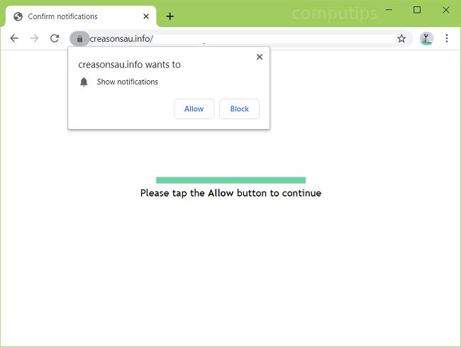 Delete creasonsau.info, r7so.creasonsau.info, r3qz.creasonsau.info, uaia.creasonsau.info, etc. virus notifications