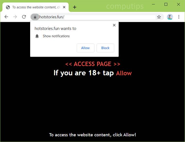Delete hot stories.fun, 0.hotstories.fun virus notifications