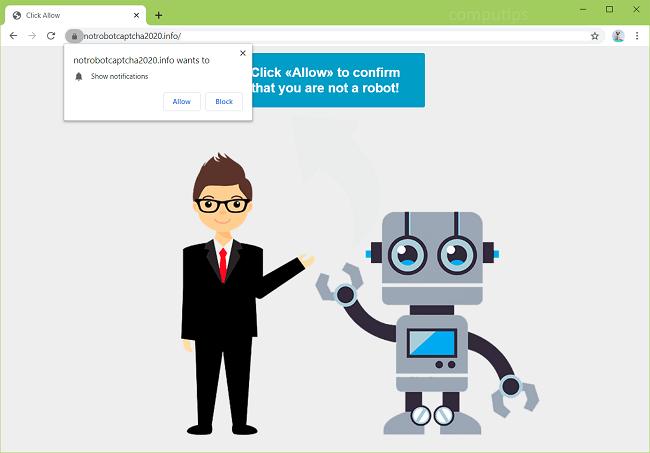 Excluir não 2020.info robô capcha (nenhum robô captcha 2020) notificações de vírus