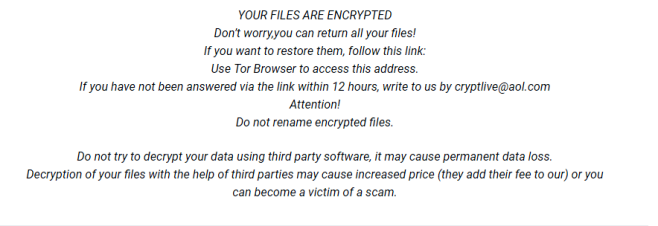 remover ransomware cryptlive@aol.com.live