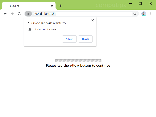 Eliminar las notificaciones de virus 1000-dollar.cash