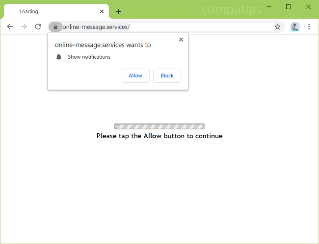 Delete online-message.services virus notifications