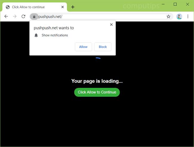 notificações de vírus push.net empurrar Excluir