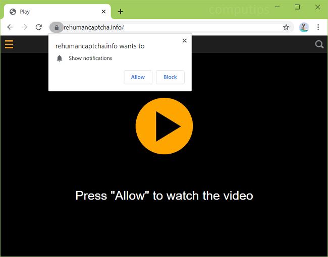 Supprimer les notifications de re virus captcha.info humain