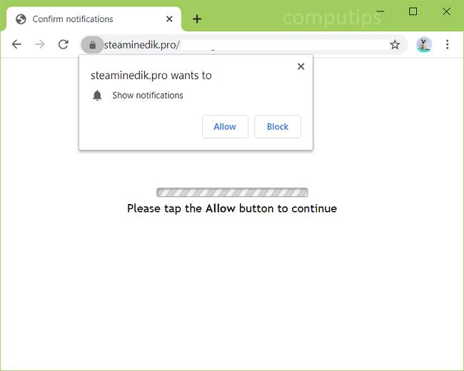 Delete steaminedik.pro, fydo.steaminedik.pro, xnym.steaminedik.pro, bwc2.steaminedik.pro, etc. virus notifications