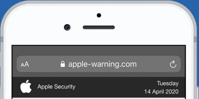 com advertencia de manzana