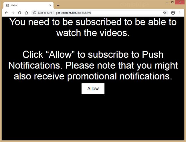 Excluir notificações de vírus get-content.site
