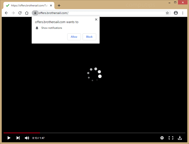 Supprimer les notifications de virus offers.brothersail.com