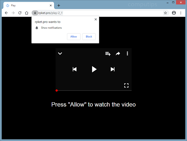 Supprimer les notifications de virus rpket.pro