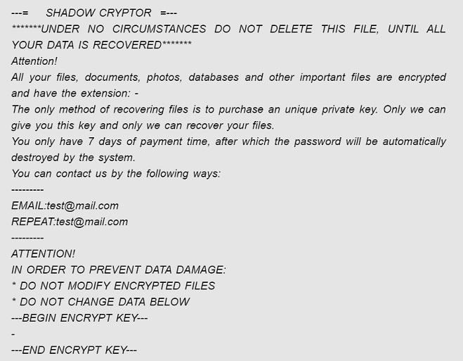 shadow cryptor ransomware