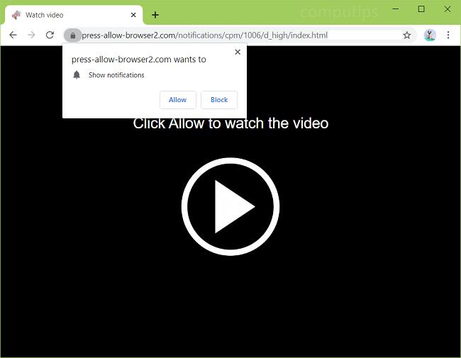 Exclua v1.press-allow-browser2.com, v2.press-allow-browser2.com (pressione permitir navegador 2 com virus) notificações