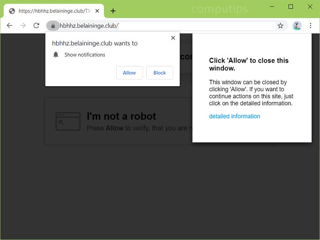 Delete hbhhz.belaininge.club, wvyou.belaininge.club, feowo.belaininge.club (belaininge.club virus) notifications