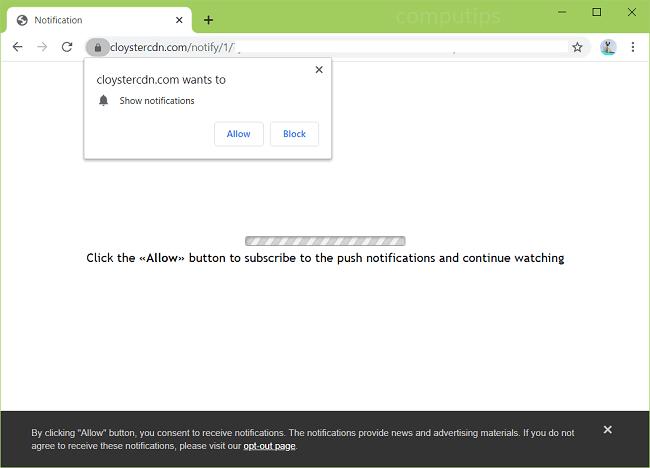 Excluir notificações de vírus cloystercdn.com