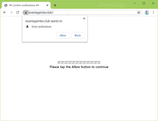 Delete y3ur.evantageinbe.club, s148.evantageinbe.club (evantageinbe.club virus) notifications