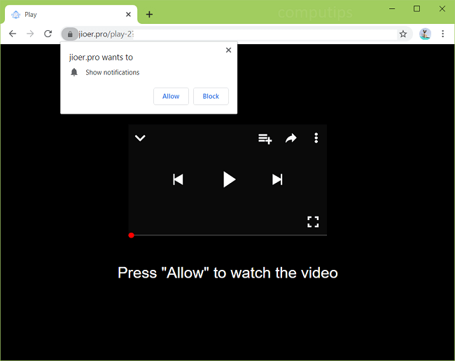 Delete jioer.pro virus notifications