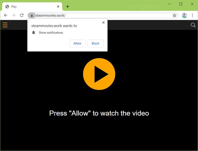 Excluir 0.steammovies.work, 1.steammovies.work (filmes Steam funcionam com vírus) notificações