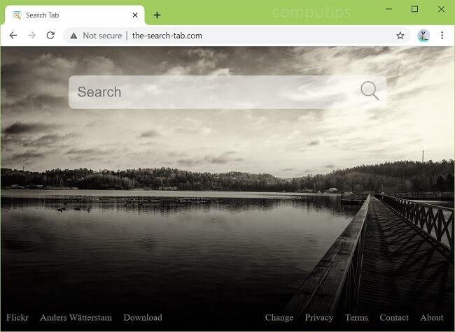 exclua o vírus The-search-tab.com que é gerenciado por sua organização (ID: bdmggabkeajpaafjefmaicpbpbkklncb)