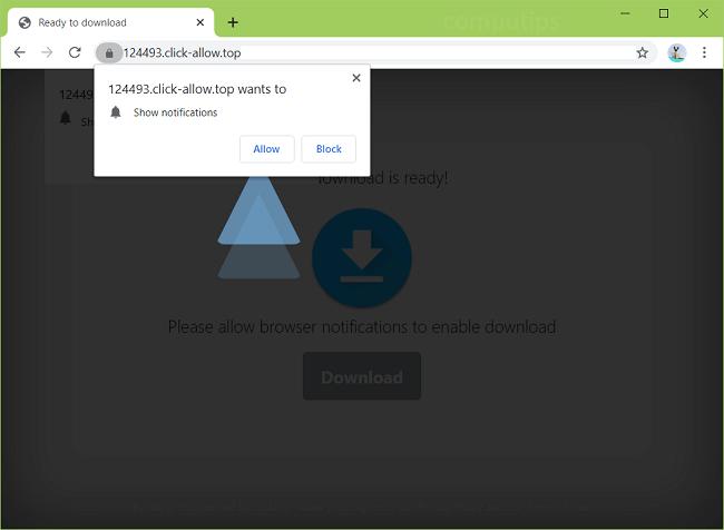 Excluir notificações de vírus click-allow.top