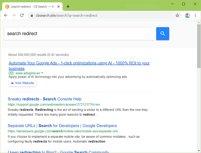 supprimer le virus CB Search fourni par Google (http://cbsearch.site/search?q)