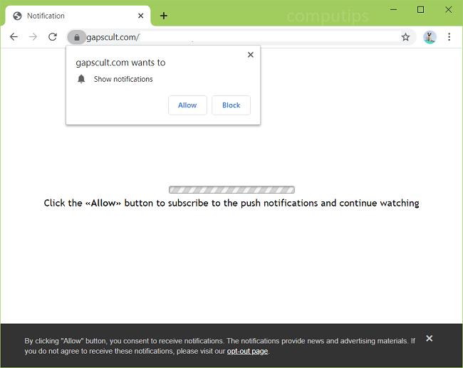 Excluir notificações de vírus de gapscult.com