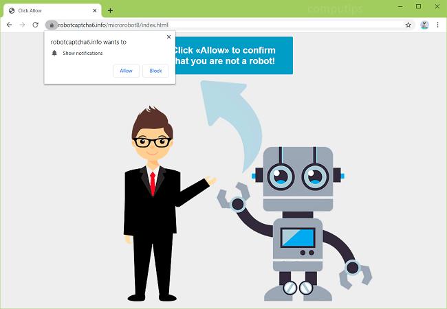 Supprimer 0.robotcaptcha6.info, (robot captcha 6 Info) les notifications du virus