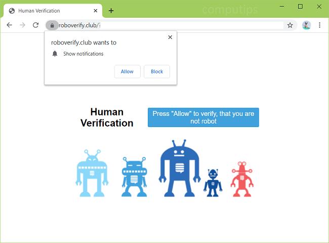 Supprimer les notifications de virus Robo Verify Club