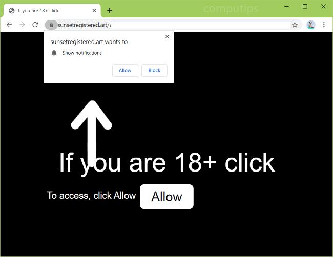 Eliminar notificaciones de virus de arte registrado por la puesta del sol
