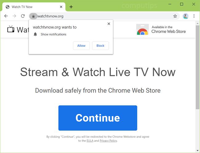 Supprimer les notifications de virus Watch TV now.org