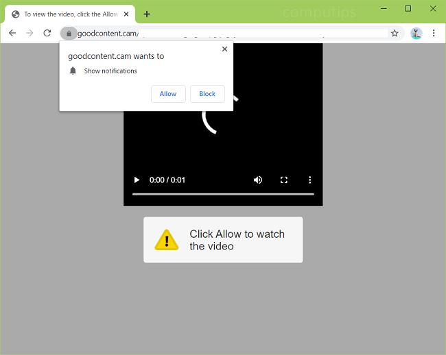Excluir 0.goodcontent.cam (vírus de boa câmera de conteúdo) notificações