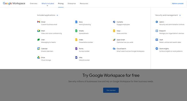 Une capture d'écran du site de Google Workspace
