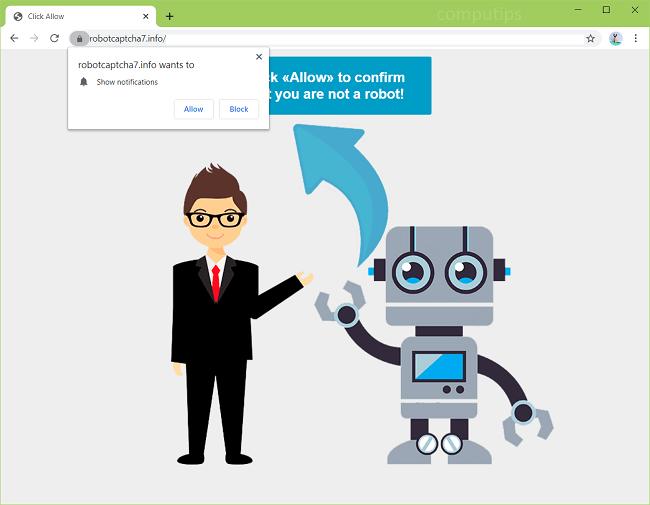 Como eliminar a.robotcaptcha7.info, b.robotcaptcha7.info (robot captcha 7 virus de información) notificaciones