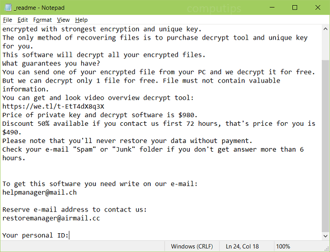 A screenshot of Ribd's ransom note: ATTENTION! Don't worry, you can return all your files! All your files like pictures, databases, documents and other important are encrypted with strongest encryption and unique key. The only method of recovering files is to purchase decrypt tool and unique key for you. This software will decrypt all your encrypted files. What guarantees you have? You can send one of your encrypted file from your PC and we decrypt it for free. But we can decrypt only 1 file for free. File must not contain valuable information. You can get and look video overview decrypt tool: https://we.tl/t-EtT4dX8q3X Price of private key and decrypt software is $980. Discount 50% available if you contact us first 72 hours, that's price for you is $490. Please note that you'll never restore your data without payment. Check your e-mail