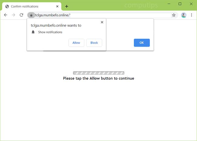 Exclua tclga.mumbefo.online, furen.mumbefo.online, pcuwj.mumbefo.online, notificações de vírus tflui.mumbefo.online