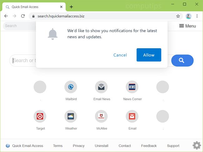 delete h quick email access biz virus