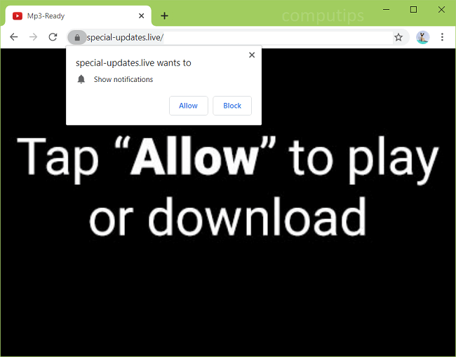 Delete special-updates.live virus notifications