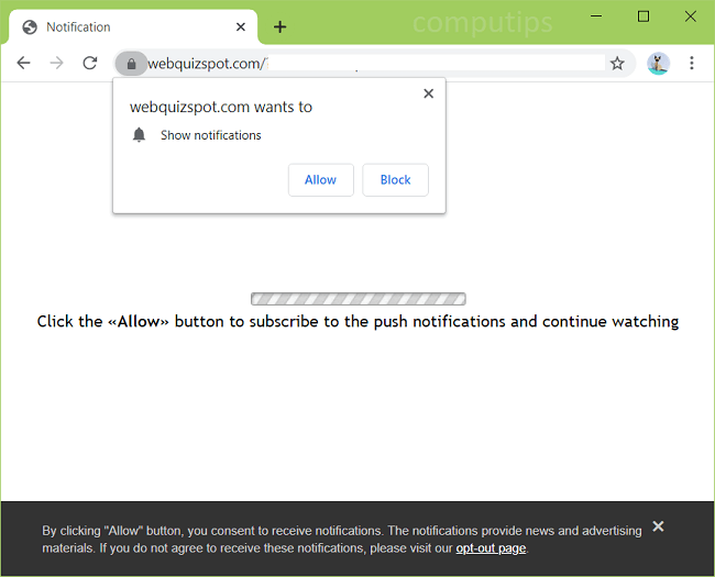 Delete web quiz spot com virus notifications