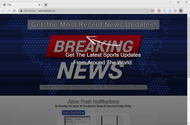Captura de pantalla del sitio web malicioso Admitteesac.top